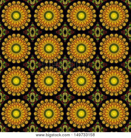yellow lotus blossom mandala flower kaleidoscope pattern