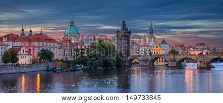 Prague. Panoramic image of Prague, capital city of Czech Republic, during sunrise.