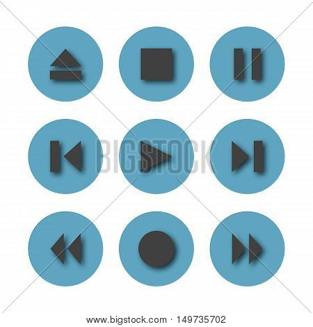 Set of nine blue round control buttons of player media icons with shadow isolated on white background vector illustration.