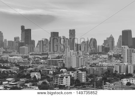 Black and White, Central city business downtown, Bangkok Thailand, cityscape background