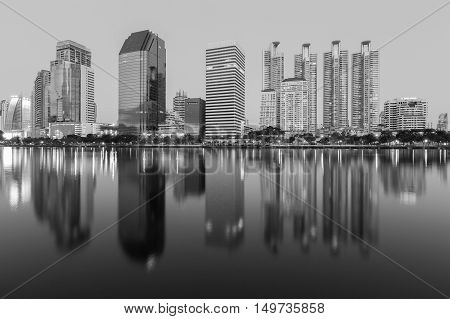Black and White, Reflection of Office building in public park, Bangkok Thailand