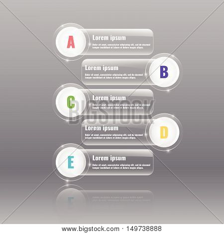 Glass banners for options, steps or parts. Infographics elements. Stock vector.