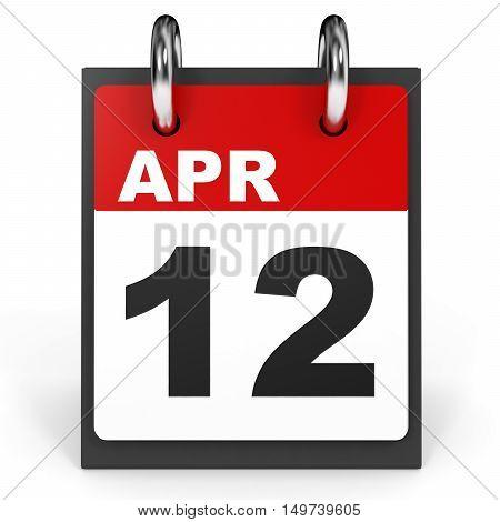 April 12. Calendar On White Background.