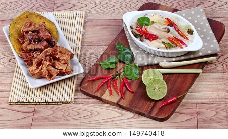 Vegetable festival of Chinese as deep fried mixed vegetable  dessert and spicy galangal curry with mixed herb,
