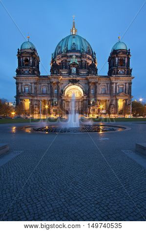 Berlin Cathedral illuminated at dusk; frontal view