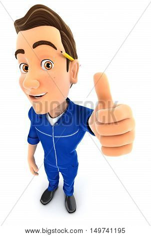3d mechanic positive pose with thumb up illustration with isolated white background