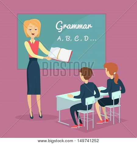 Couple of kids, boy and girl, studying grammar, sitting at their desks with the teacher in the classroom. School ABC lessons.