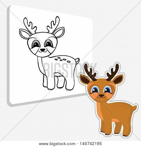 Vector black and white illustration of ute deer. Coloring pages.