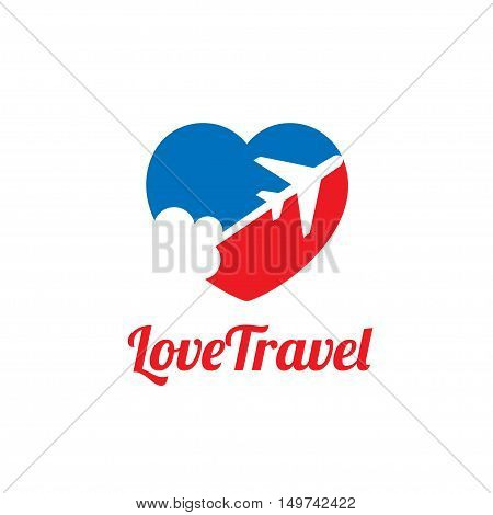 love travel,  love and Airplane silhouette for transportation and travel company. Travel agency logo. Design elements.