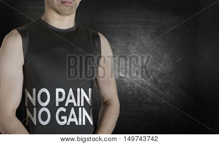 No pain no gain. Conceptual image of healthy life. Caucasian male fit model on black background.