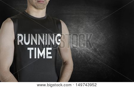 Running time. Conceptual image of healthy life. Caucasian male fit model on black background.