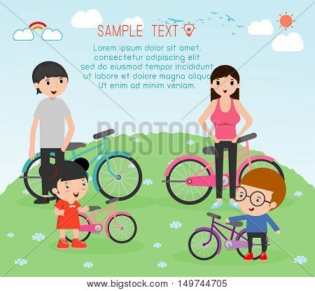 Sports family, family and bikes, people character cartoon concept. Sports family , vector illustration