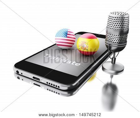 3d renderer illustration. Smartphone with word translate and a mic. Translate Spanish and English. translation concept. Isolated white background.