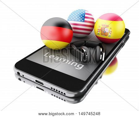 3d renderer image. Learning foreign languages on smartphone. Education and e-learn concept. Isolated white background.