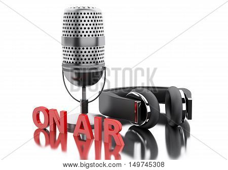 3d renderer image. On air word with a microphone and headphones. Isolated white background.