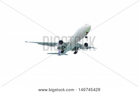 White airplane isolated on white background. Included clipping path