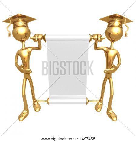 Golden Grad'S Presenting A Blank Scroll Graduation Concept