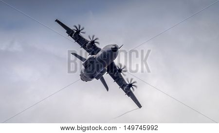 Farnborough UK - 6th July 2016: An Airbus A400M Atlas military transport in flight at Fanborough Airshow