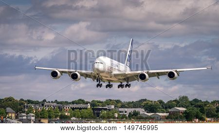 Farnborough UK - 16th July 2016: A display Airbus A380 in flight