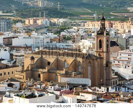 View from Sagunto town in Eastern Spain. In foreground with St Mary's Church