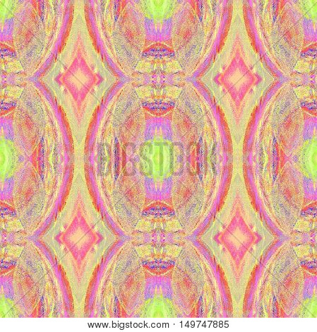 Abstract geometric retro multicolored background, seamless ellipse and diamond pattern violet, purple and light green.