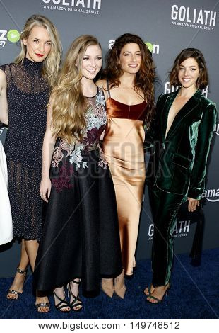 Ever Carradine, Diana Hopper, Tania Raymonde and Olivia Thirlby at the Los Angeles premiere of Amazon's 'Goliath' held at the London Hotel in West Hollywood, USA on September 29, 2016.