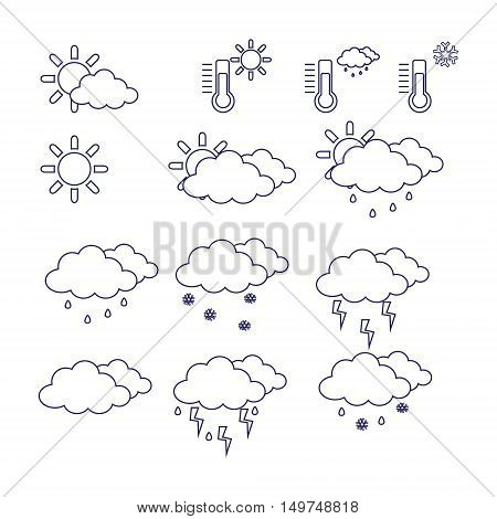 Vector illustration outline drawing weather icon set. Weather forecast