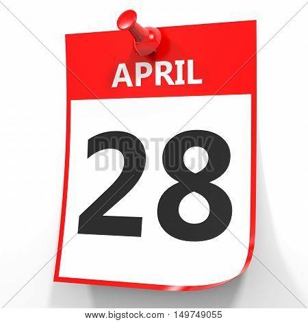 April 28. Calendar On White Background.