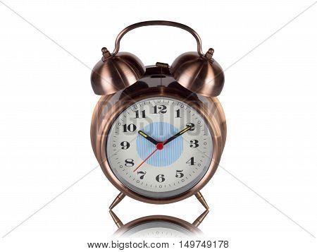 retro alarm clock isolated on white background.