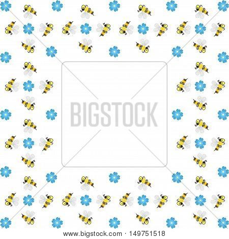 Background border frame with repeating bees and blue forgot-me-not flowers isolated on the white (transparent) fond. With space for invitations or different events cards text. Vector illustration