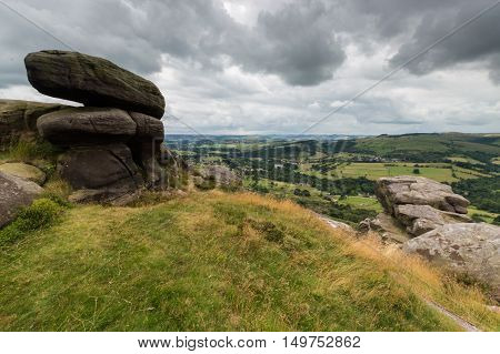 Bolders at Froggatt Edge in the Peak District Derbyshire