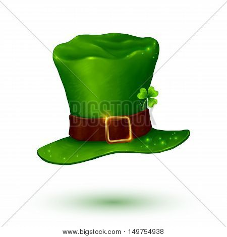 Green vector soft leprechaun hat in cartoon style isolated on white background