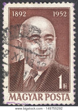 MOSCOW RUSSIA - CIRCA SEPTEMBER 2016: a stamp printed in HUNGARY shows a portrait of Matyas Rakosi the series