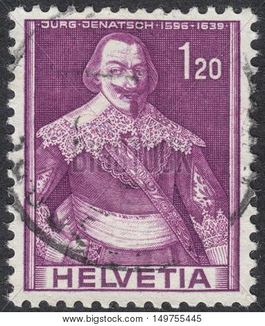 MOSCOW RUSSIA - CIRCA SEPTEMBER 2016: a stamp printed in SWITZERLAND shows a portrait of Jurg Jenatsch the series