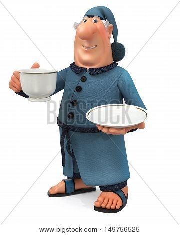 3D Illustration Of The Cheerful Businessman With A Cup