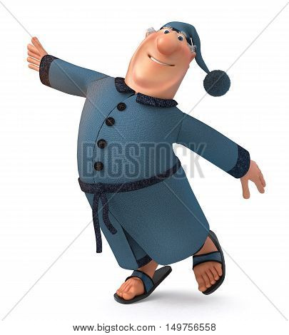 The 3D Illustration Of The Businessman In A Dressing Gown And A Cap