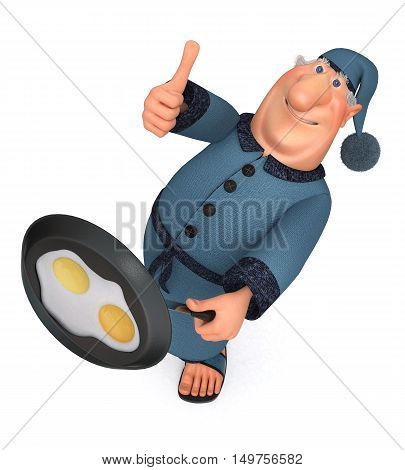 3D Illustration The Businessman With A Frying Pan