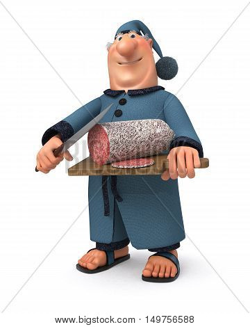The 3D Illustration The Businessman With Sausage And A Knife