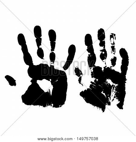 Human hand  grunge paint on white background vector illustration. Handprint. Imprint of human hands