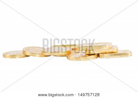 The chocolate gold coin on white background clipping path