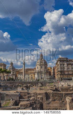 Trajan Forum And Santa Maria Di Loreto Church In Rome