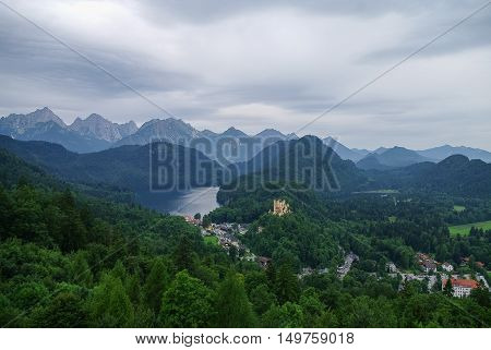 Landscape of Bavarian Alps in Germany Hohenschwangau Castle view.