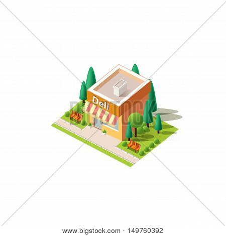 Stock vector illustration isometrics isolated deli, gastronome, gourmet, delicatessen, food shop building with arranged territory for business center on a white background