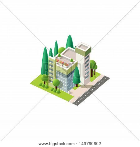Stock vector illustration isometrics isolated private clinic building, hospital with arranged territory for business center on a white background