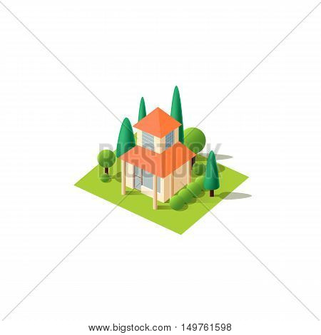 Stock vector illustration isometrics isolated Chinese Japanese sushi bar restaurant building with arranged territory for business center on a white background