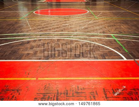Old concrete sport parquet court in sport Hall , This image background for sport concept