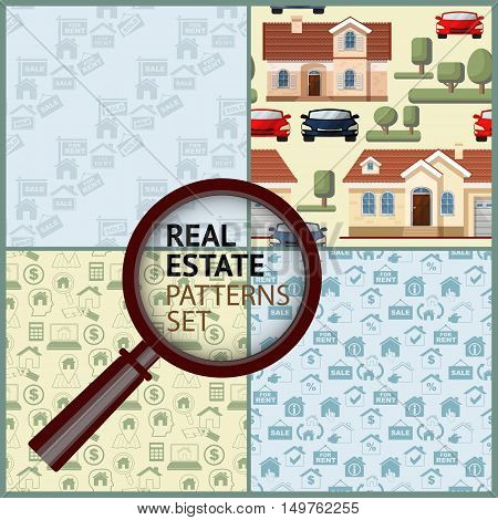 Set Real Estate seamless patterns. Flat style colorful vector illustration with houses, icons, cars, trees and magnifier on light background.
