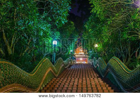 Dragon Stairs to Wat Phra that doi suthap Temple, chiang Mai,Thailand poster