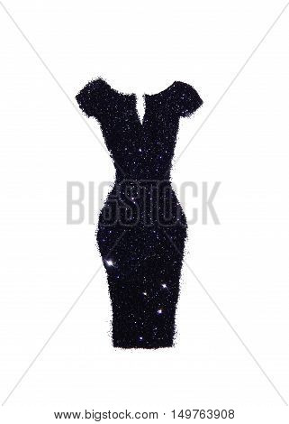 Sheath dress of black glitter on white background