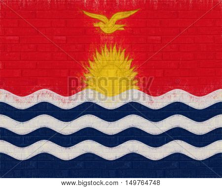 Illustration of the flag of Kiribati looking like it has been painted onto a wall